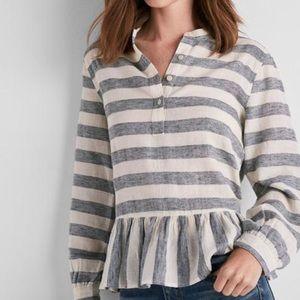 Lucky Brand | Long Sleeve Striped Peplum Top